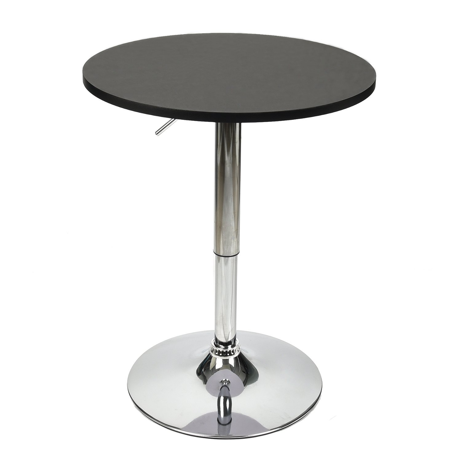 PULUOMIS 35 Inches Height Pub Table Round Black Mdf Top, with Chrome Leg And Base