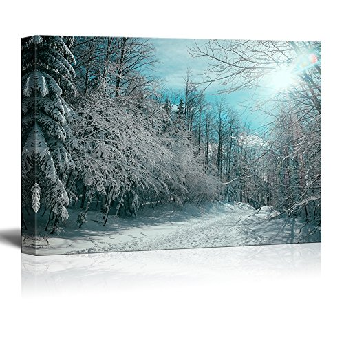 "Wall26 Canvas Wall Art - Red Pine Tree Forest Covered in Snow - Giclee Print Gallery Wrap Modern Home Decor Ready to Hang - 16"" x 24"""