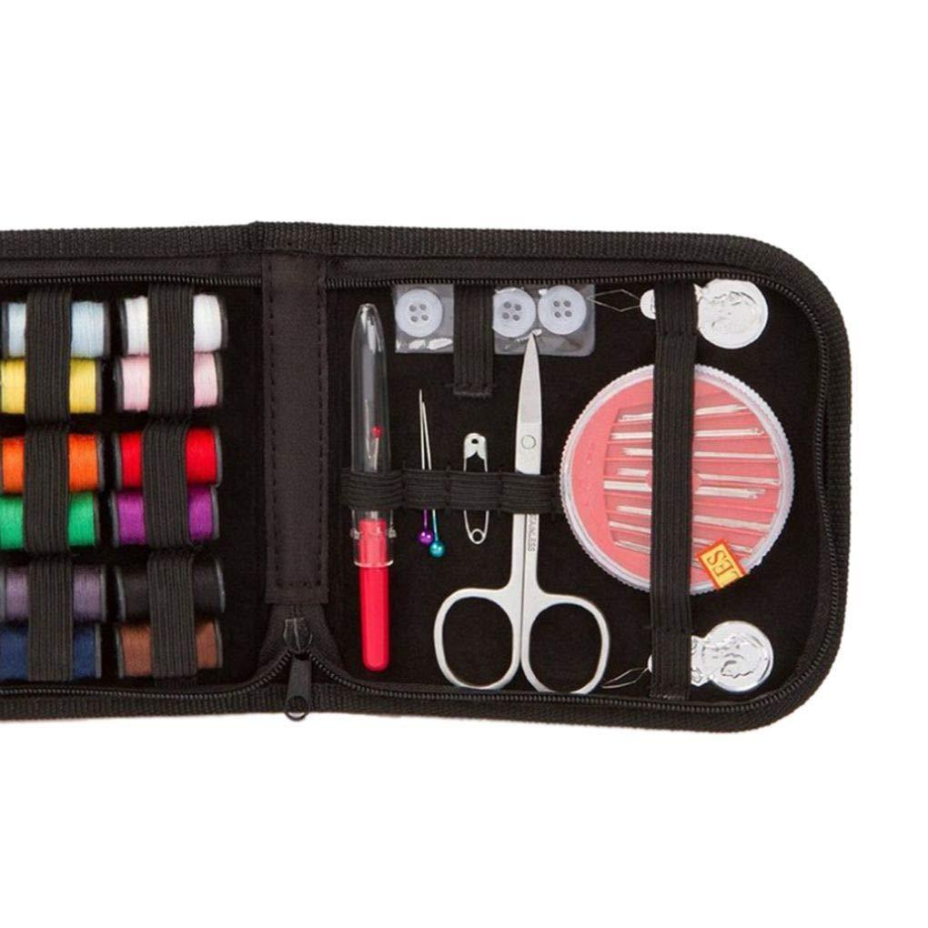 Pegcduu 27pcs Kit de Costura hogar del Recorrido del Hilo Tijeras Estuche Kit de Costura Accesorios Color al Azar