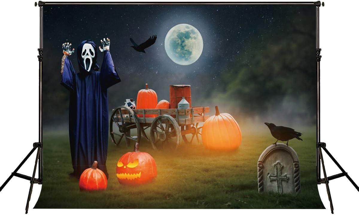 RBQOKJ 7x5ft Halloween Pumpkin Backdrop Ghost Skeleton Guard Decor Night Background for Photography Halloween Party Photo Shoot Backdrops Prop Studio
