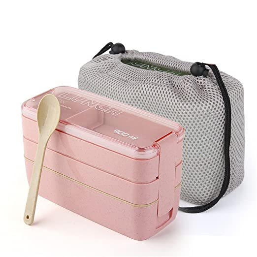 RFVBNM 2/3 capas japonesas microondas Bento caja trigo paja ...