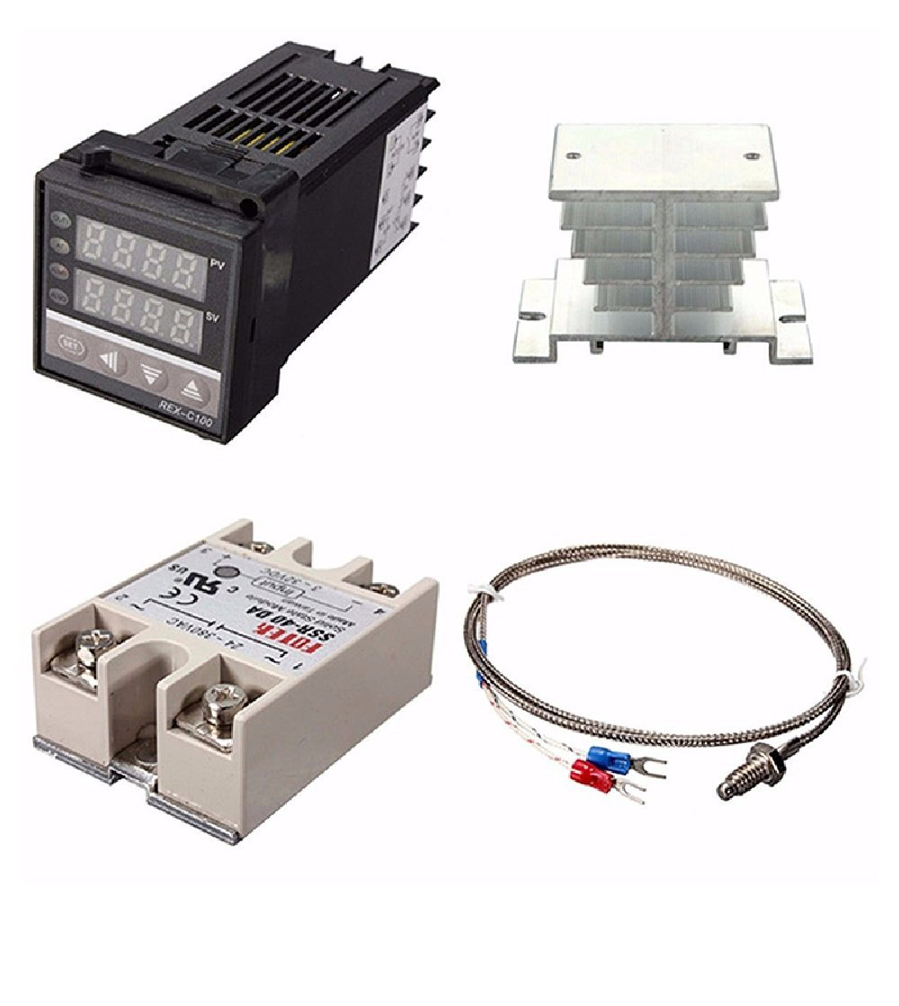 PID REX-C100 digital 220 V + max.40A SSR + K Thermocouple, PID Controller Kit + Heatsinks Temperature Controller