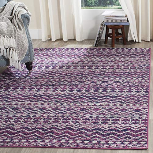 I/M Purple Bohemian Pattern Area Rug (3' x 5'), Luxurious Comfort, Plum Colored Floor Carpet, Vibrant Fuchsia Navycolor, Abstract Persian, Gorgeous Geometric Stripe Design Theme (Coloured Rugs Plum)