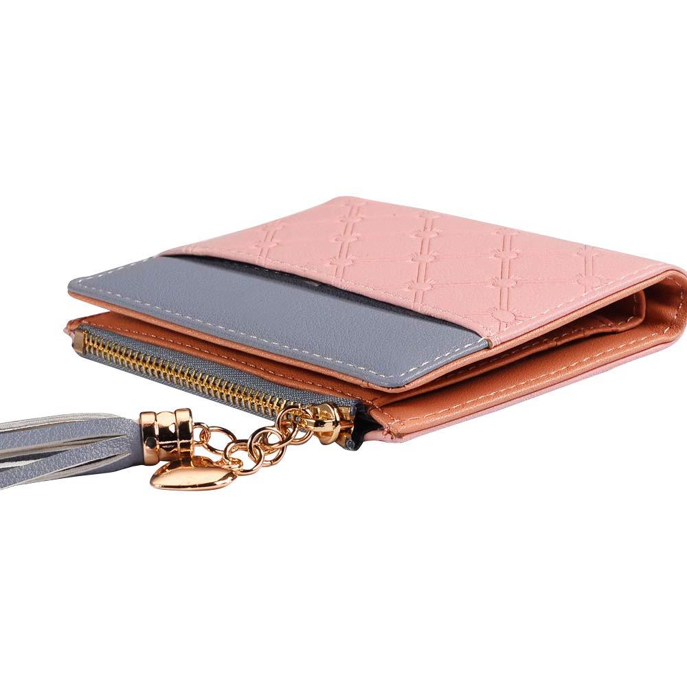 Wocharm Womens Heart Tassels Wallet Short Leather Blocking Credit Card Purse Bag