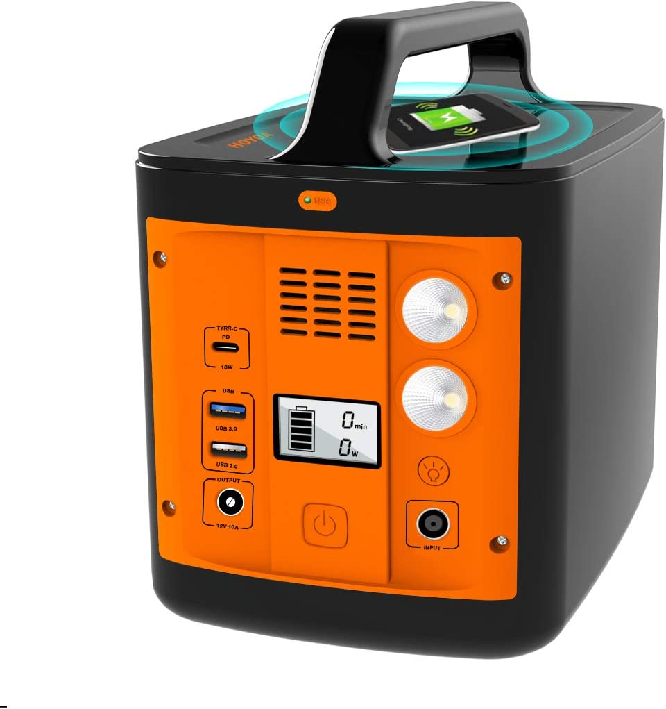 200W Portable Power Station-Solar Generator-Power Outage Supplies with Wireless Charging-110V AC Outlet-Type C-2 USB Ports, Backup Battery Pack Power Bank for CPAP, Home Use, Outdoor,Camping