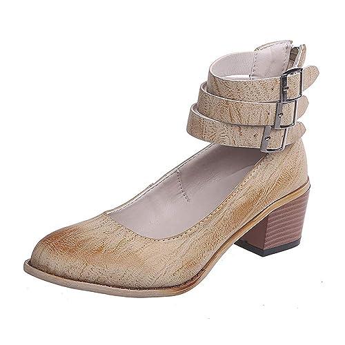 Zapato de Vestir Mujer Alto Tacón Elegante Puntiagudo Plataforma Transpirable Verano Primavera Fiesta Vestido Zapatos Heels 5 CM Negro Marrón Beige 35-43: ...
