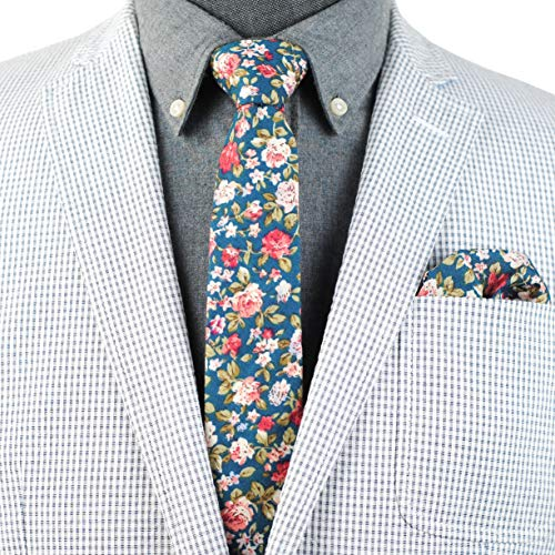 Mens Cotton Skinny Floral Tie Combo Set with Pocket Square TC076D