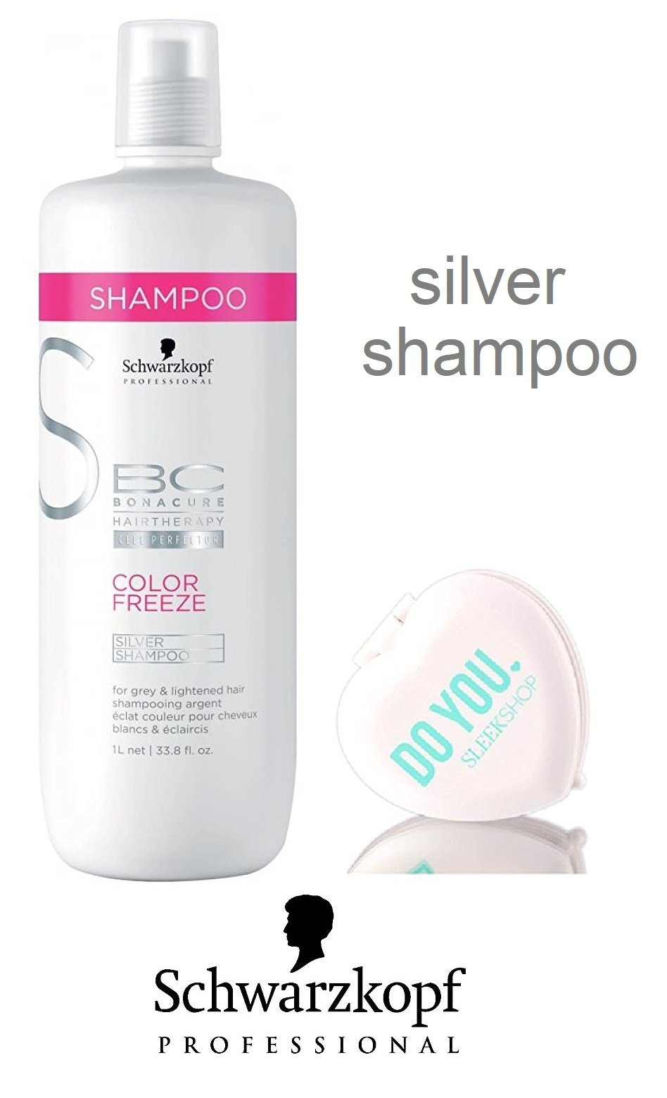 Schwarzkopf BC Bonacure Color Freeze SILVER Shampoo for grey and lightened hair (with Sleek Compact Mirror) (33.8 oz / 1000ml - large liter size) by Schwarzkopf