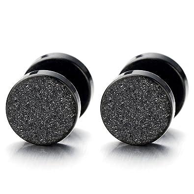 17baa4b72 2pcs 6mm Black Screw Stud Earrings for Men Women, Steel Cheater Fake Ear  Plugs Gauges