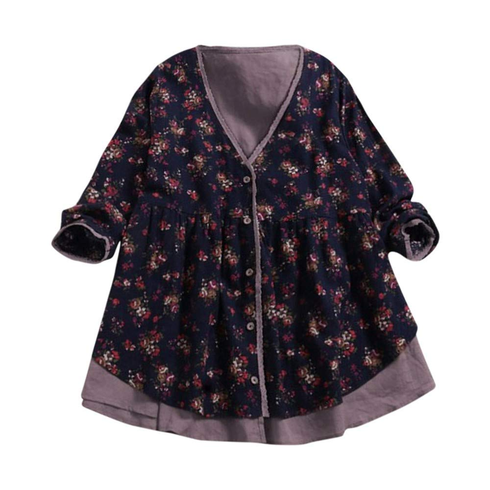 Toimoth Women Plus Size Double-Layer Fake Two Pieces Loose Coat Blouse Cotton Linen Print Shirt Top(Navy,2XL) by Toimoth Tops (Image #1)