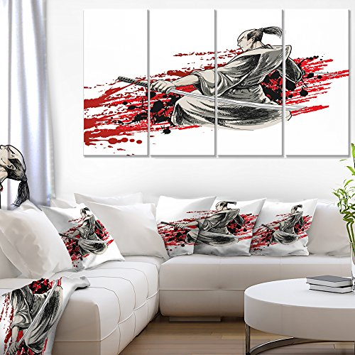 Designart 4 Piece Japan Warrior Japanese Canvas Artwork