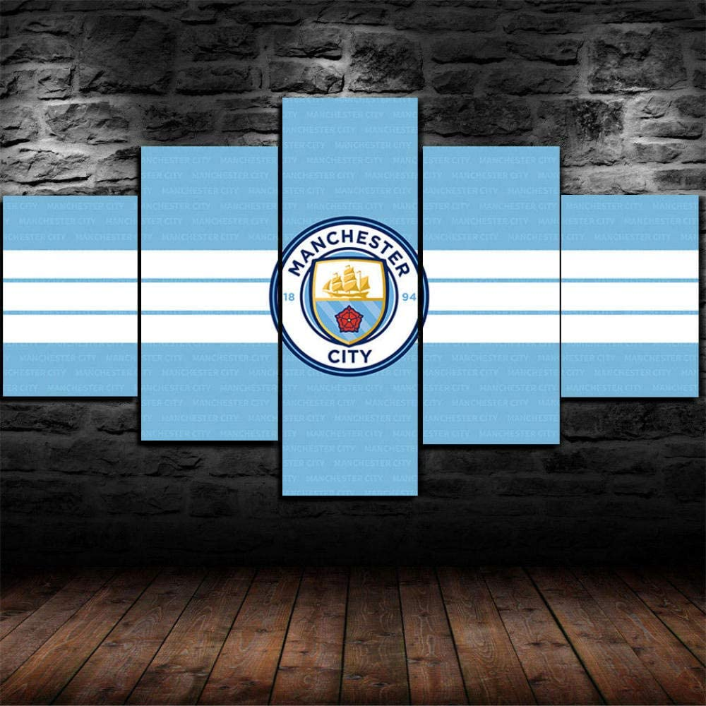 Luck7 Manchester City Poster 5 Piece Canvas Print Wall Art Decor Framed Canvas Paintings Ready to Hang for Home Decorations Wall Decor-200x100cm