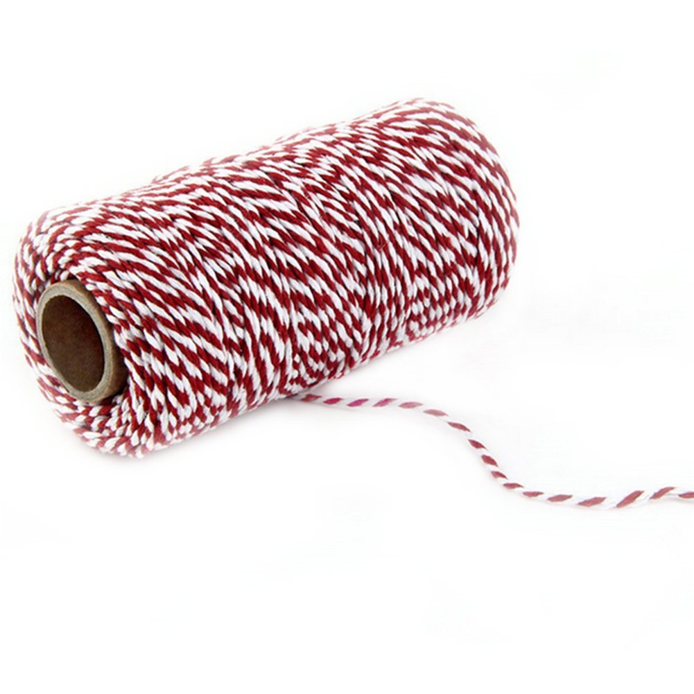 DaoRier Red and White 100m Wrap Gift Cotton Rope 2mm Wrapping Cotton String Twine Garden Gift Cotton Rope Decoration