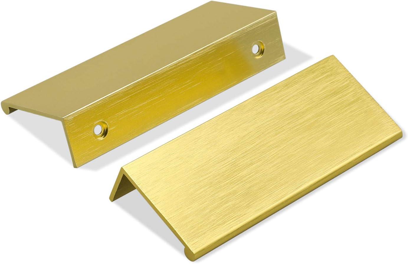 goldenwarm 5 Pack Gold Drawer Handles Brushed Brass Finger Pull 3inch Edge Pulls Cabinet Hardware - LS7030GD Modern Concealed Kitchen Handle Furniture Handware Aluminum Alloy