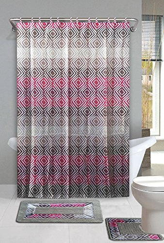 GorgeousHome New Designs 15PC Printed Banded Bathroom Rubber Backing Rug Bath Mats Set With Fabric Matching Shower Curtain & Hooks (SUFYAN TAUPE) (Matching Bathroom Accessories Sets)