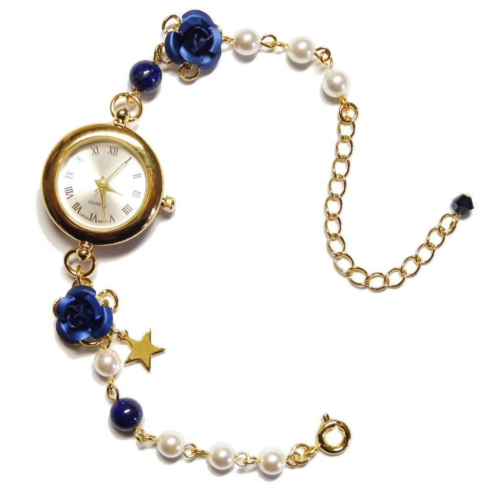 ラピスラズリ (腕時計) 天然石 パワーストーン ブレスレット ウオッチ 可愛い キラキラ アクセサリー レディース 女性用 薔薇 バラ ローズ ばら ゴールド 金 紺 青 ブルー 星 スター B076S6GZ39