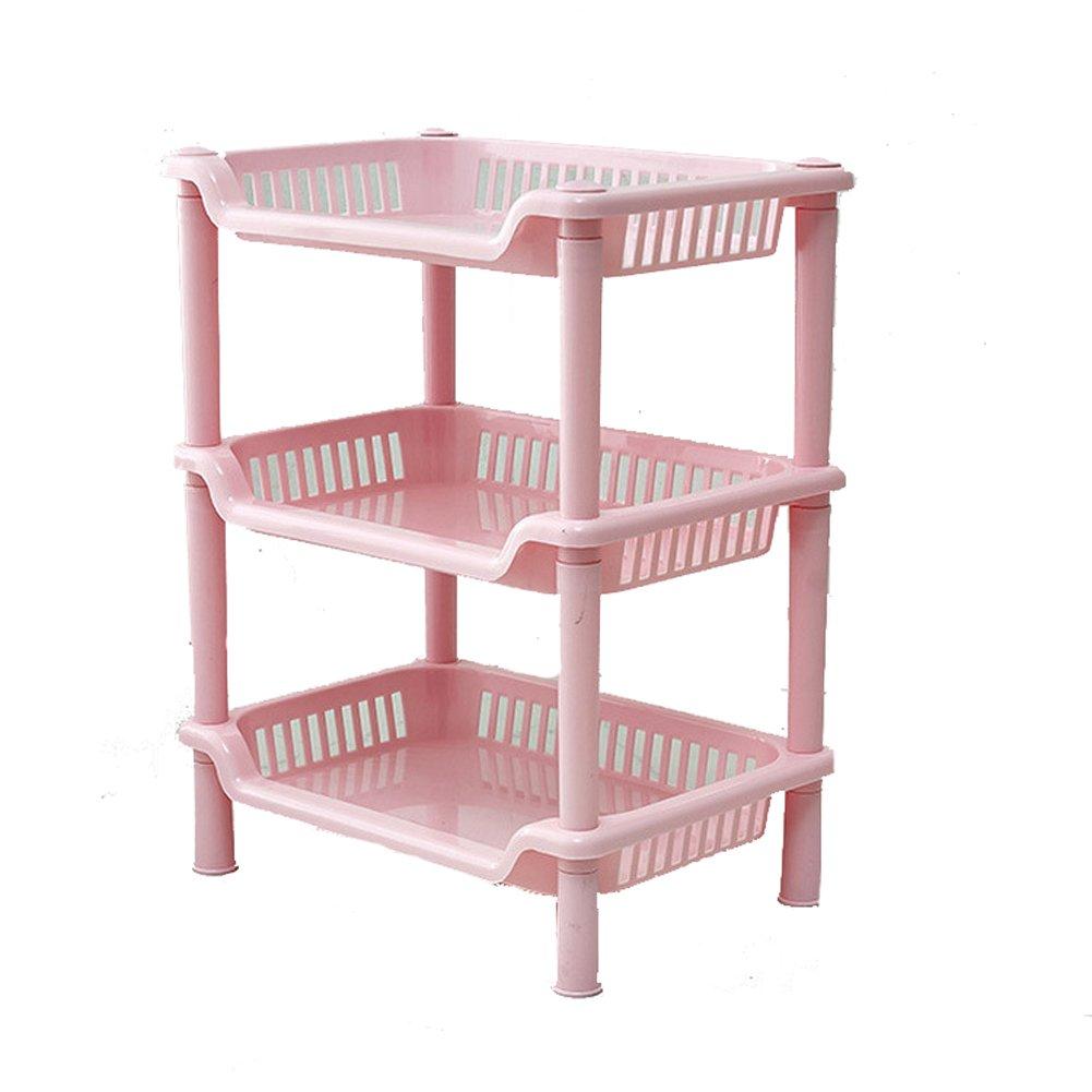 YIUHART Plastic Small Storage Shelves Plastic Basket Square 3 Layers Desk Stand Rack Bathroom Shelves for Home Household Kitchen