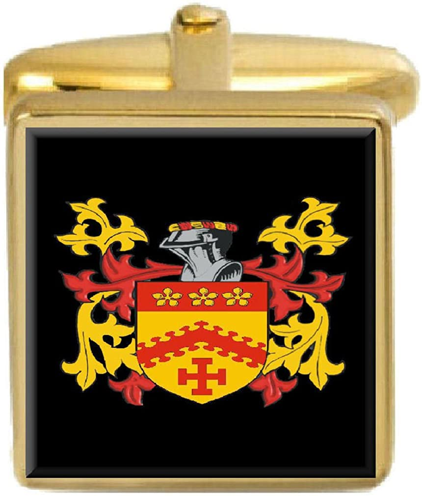 Select Gifts Nevitt Wales Family Crest Surname Coat Of Arms Gold Cufflinks Engraved Box