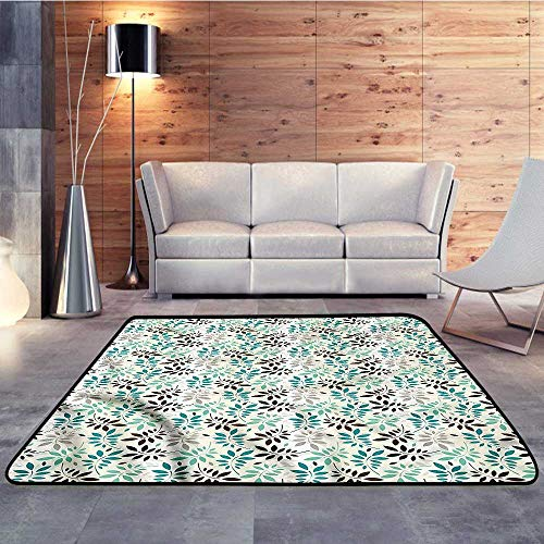 (Bath Rugs for Bathroom,Leaves,Pastel Foliage DesignW 71