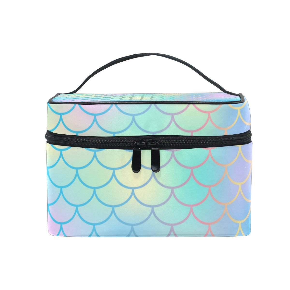 Portable Travel Makeup Cosmetic Bag Candy Color Magic Mermaid Fish Scale Pattern Durable Toiletry Organizer Train Case for Women Girls My Little Nest