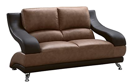 Global Furniture Wyatt Collection Leather Matching Love Seat, Brown And  Dark Brown