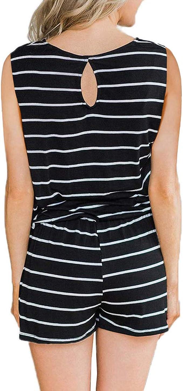 YIBOCK Womens Summer Sleeveless Button Down Striped Short Jumpsuit Cami Romper