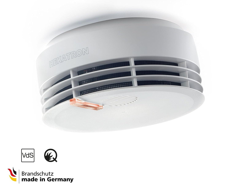 Hekatron Genius H - Detector de Humo optimizado con Batería integrada (10 Años de Vida útil), LED de Alarma de Incendio atenuado por la Noche/Blanco, ...