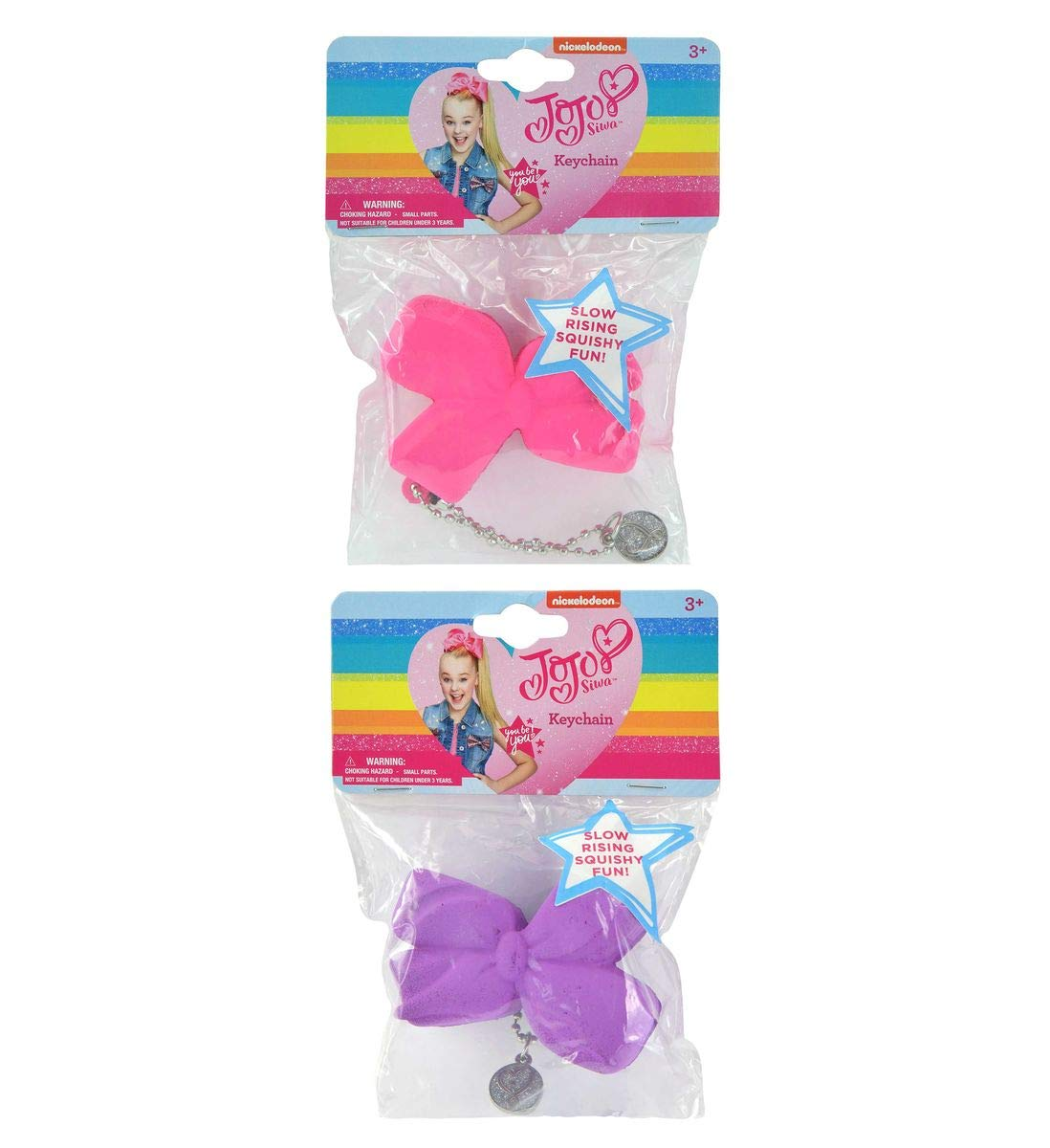 Mozlly Value Pack - JoJo Siwa Girls Rhinestone Pastel Signature Collection Hair Bow Clip and Slow Rising Squishy Hair Bow Keychains (2pc Set) (2 Items) by Mozlly (Image #3)