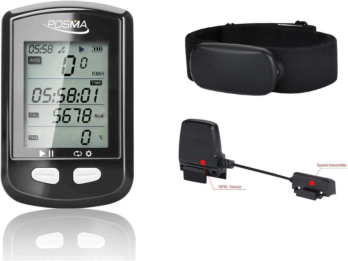 POSMA Ant+ Bluetooth Dual Mode DB2 GPS Bicicleta de Ciclismo Ordenador BCB30 Speed Cadence Sensor BHR30 Monitor de Ritmo Cardíaco Valor Kit - Conectar Smartphone iPhone