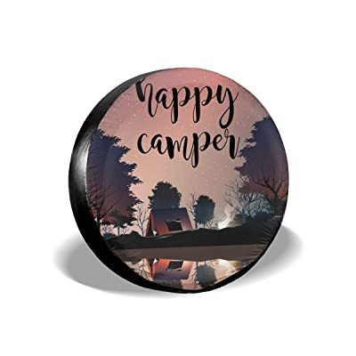 Field Rain Happy Camper Scenery Spare Tire Cover for Trailer RV SUV Truck Wheel Weatherproof Tyre Protector: Clothing