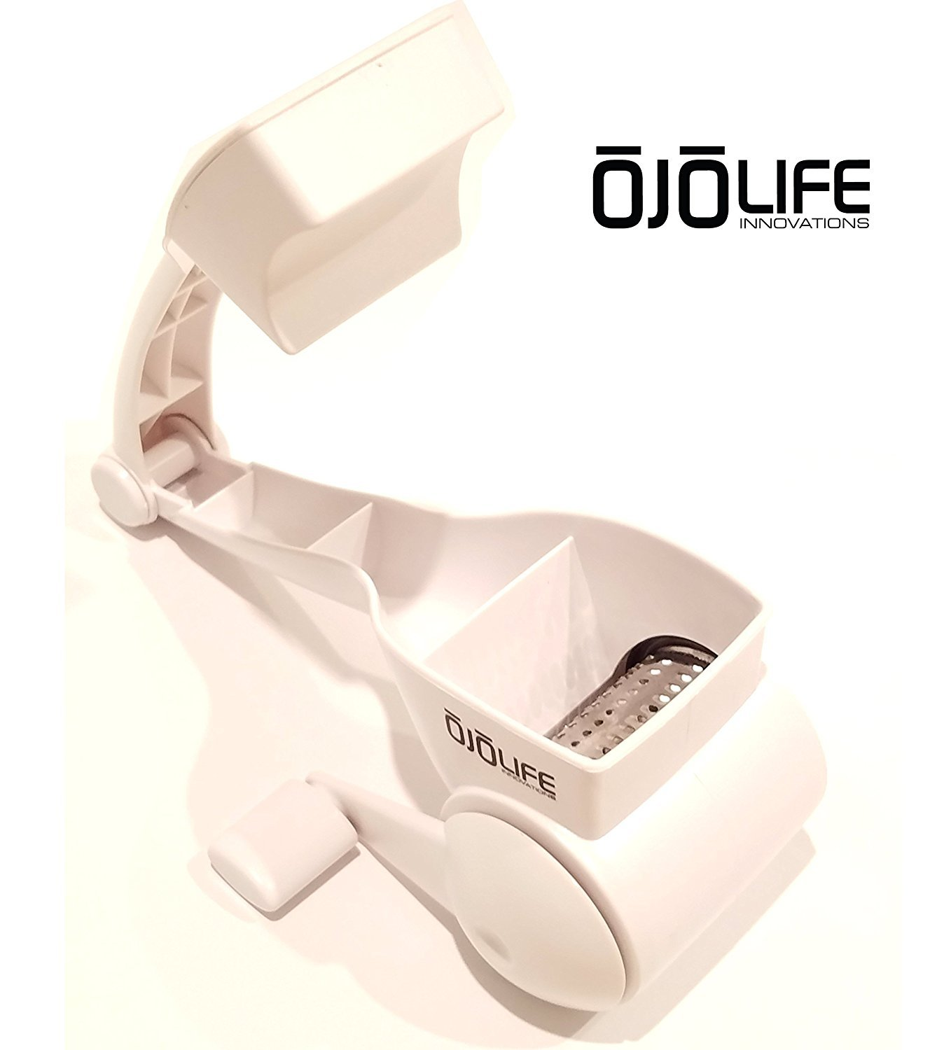 Premium Grade Restaurant Quality Razor Sharp Stainless Steel Blades With Complementary E-Cookbook by OjoLife Innovations Professional Duty Rotary Cheese Grater Shredder Multi Use