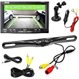 """Backup Rear View Camera Mirror Monitor Screen System Kit Parking & Reverse Safety Distance Scale Lines, Waterproof Night Vision Angle, 7"""" LCD Video Color Display for Cars, Trucks & Automotive Vehicles"""