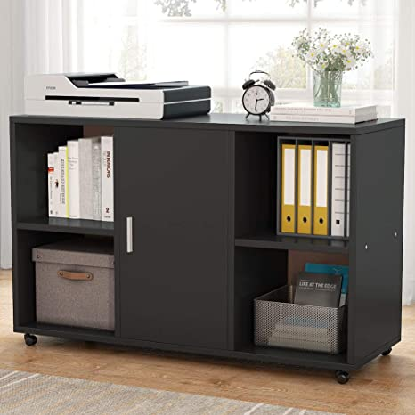 finest selection 1a8e7 fe343 File Cabinet, Tribesigns Mobile Filing Cabinets, Works as Printer Stand &  Office Cabinet with Door Storage Cabinet and 4 Open Cubes for Home Office