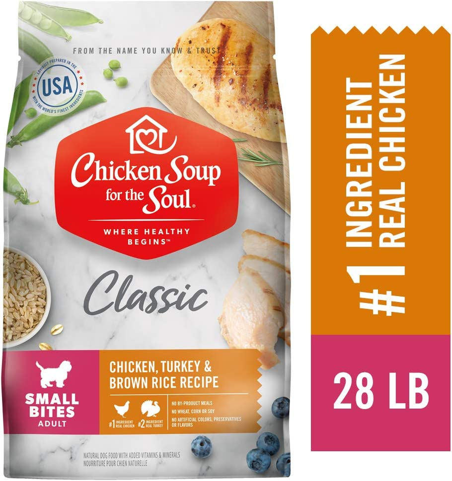 Chicken Soup for the Soul Small Bites Dog Food- Chicken, Turkey Brown Rice Recipe, Dry Dog Food