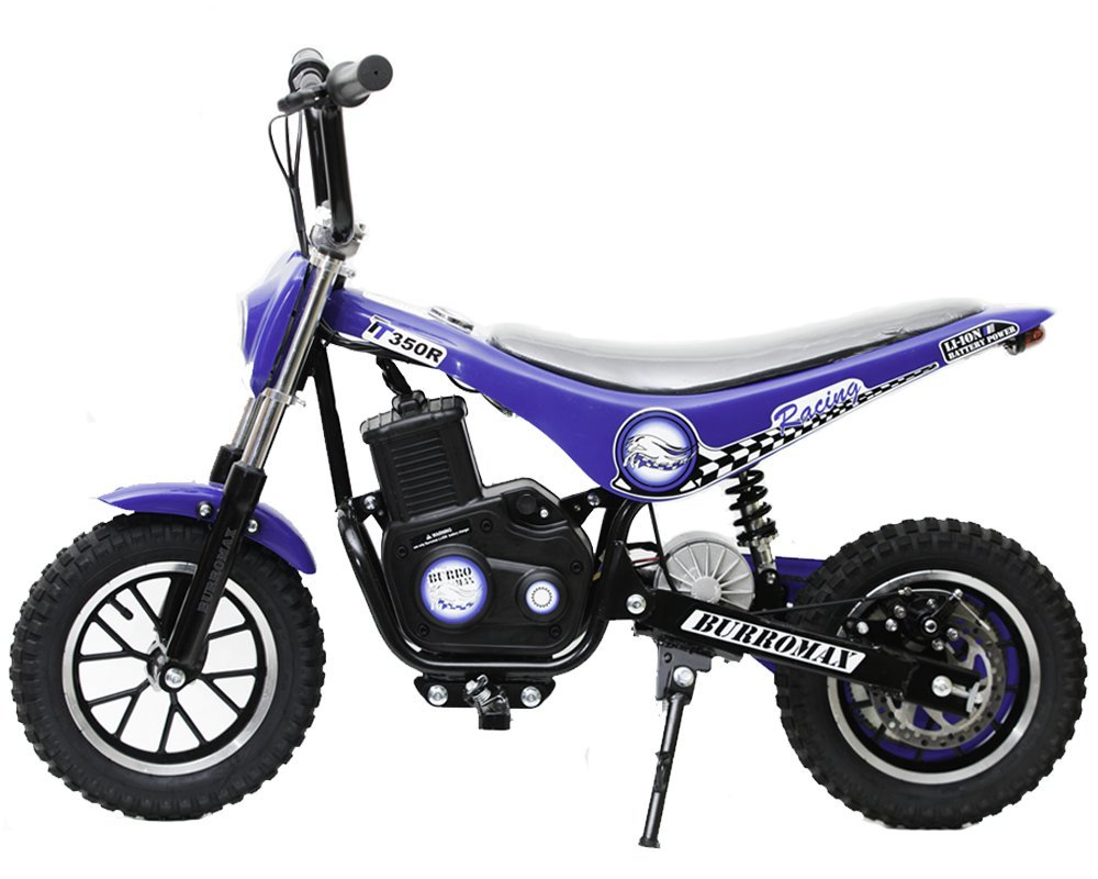 Burromax TT350R Electric Mini Bike 350W Lithium Battery Powered Motocross Scooter, Blue