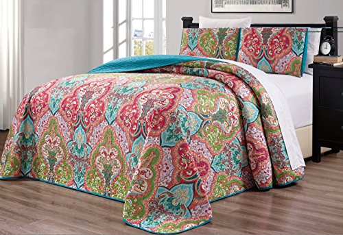 "3-Piece Oversize (115"" X 95"") Fine Printed Prewashed Quilt Set Reversible Bedspread Coverlet (California) Cal King Size Bed Cover (Turquoise Blue, Sage Green, Orange, Terra Cotta Red) from Grand Linen"