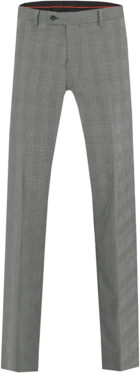 Dobell Mens Black and White Suit Pants Regular Fit Prince of Wales Check