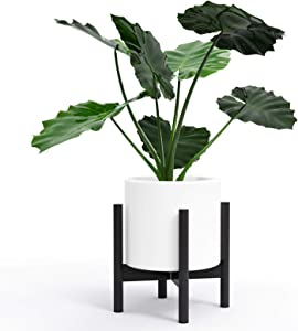 Hand-Mart Plant Stand - EXCLUDING Plant Pot, Mid Century Wood Modern Flower Pot Holder Heavy Duty Potted Stand Indoor Display Rack Rustic Decor, Up to 10 Inch Planter, Charcoal