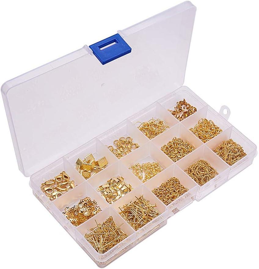 Kit Fabricación Joyas 15 Estilos Pendientes DIY Accesorios Bricolaje Collar Pulsera Herramienta Hacer con Caja Almacenamiento Plástico (Dorado)