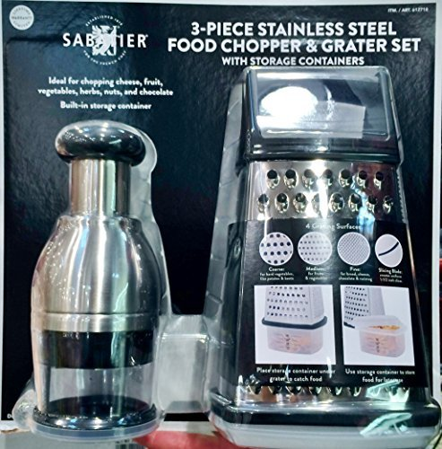Sabatier 3 Piece Stainless Steel Food Chopper & Grater Set Sturdy, Strong & Durable (Grater Chopper compare prices)