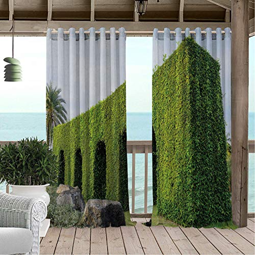 Linhomedecor Gazebo Waterproof Curtains Boxwood Hedge Tree La rinth in Garden Thailand Amazing Nature Outdoor Flourish Art Multicolor Porch Grommets Print Curtain 84 by 108 inch ()