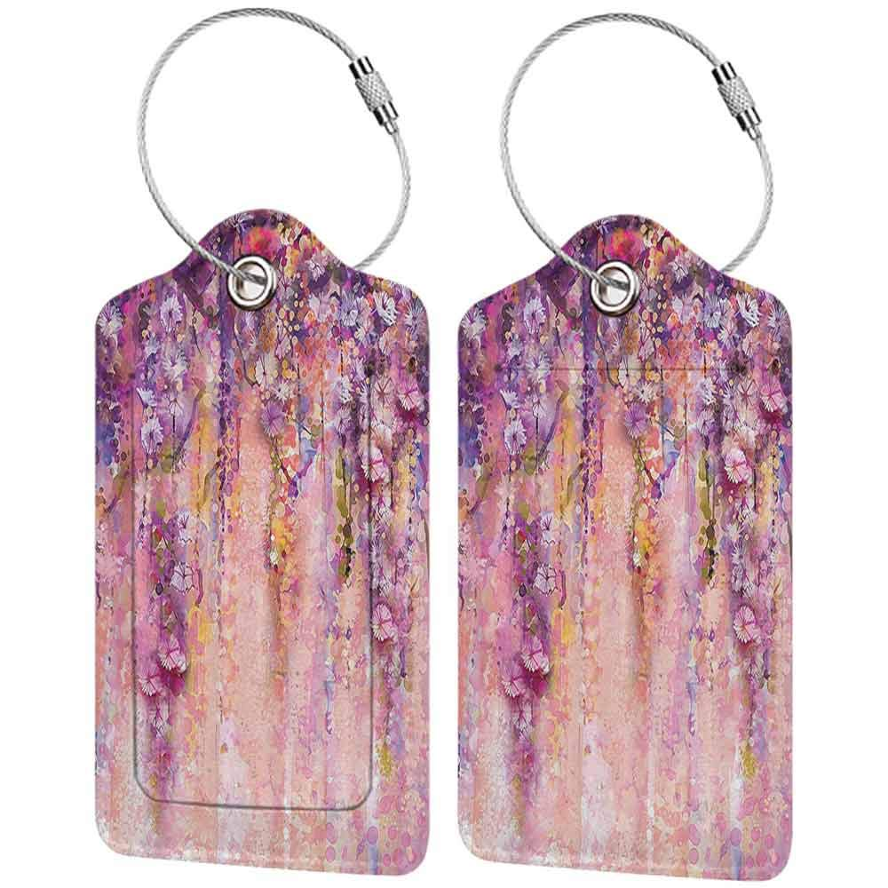 Soft luggage tag Spring Flowers Decor Watercolor Painting Effect Wisteria Blossoms Bendable W2.7 x L4.6