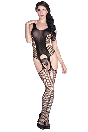 bf75eb0eb90 Image Unavailable. Image not available for. Color  Women Lingerie Open  Crotch Fishnet Bodysuits Bold Cutout Pothole Body Stocking (black)