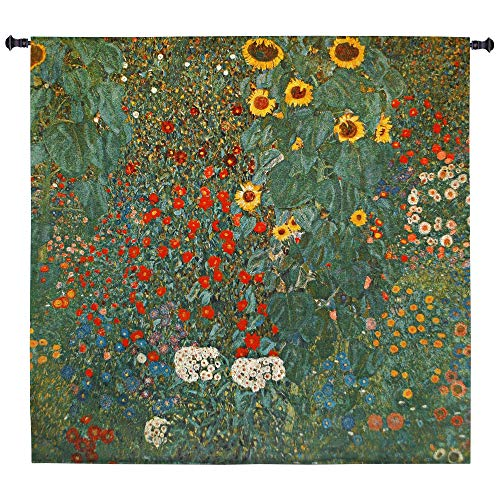 Farm Garden with Sunflowers by Gustav Klimt | Woven Tapestry Wall Art Hanging | Nature Mixed Sunflowers | 100% Cotton USA Size - Large Woven Wall Tapestry