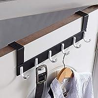 KAIYING Over The Door Hook Hanger,Heavy Duty Organizer Rack for Coat, Towel, Bag, Robe - 6/7 Hooks, Aluminum, Polished…