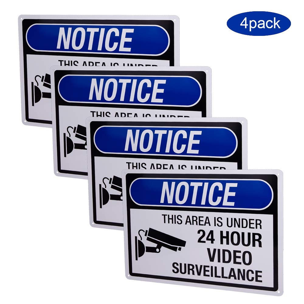 4-Pack 24 Hour Video Surveillance Sign,No Trespassing Video Surveillance Sign Private Property,10x14 Inch Rust Free 0.4mm Aluminum,uv Ink Printing, Indoor or Outdoor Use for Home Business CCTV Se by Dxyizus