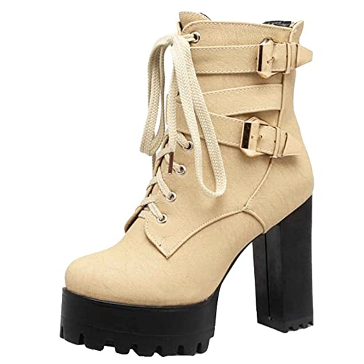 Ankle Boots with Large Size Available Ankle Boots with High Chunky Heel