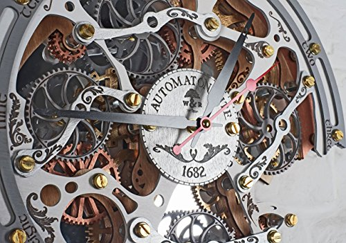 Automaton Bite 1682 White HANDCRAFTED moving gears wall clock by WOODANDROOT transparent steampunk wall clock, unique, personalized gifts, anniversary gift, large wall clock, home decor by WOODANDROOT (Image #7)