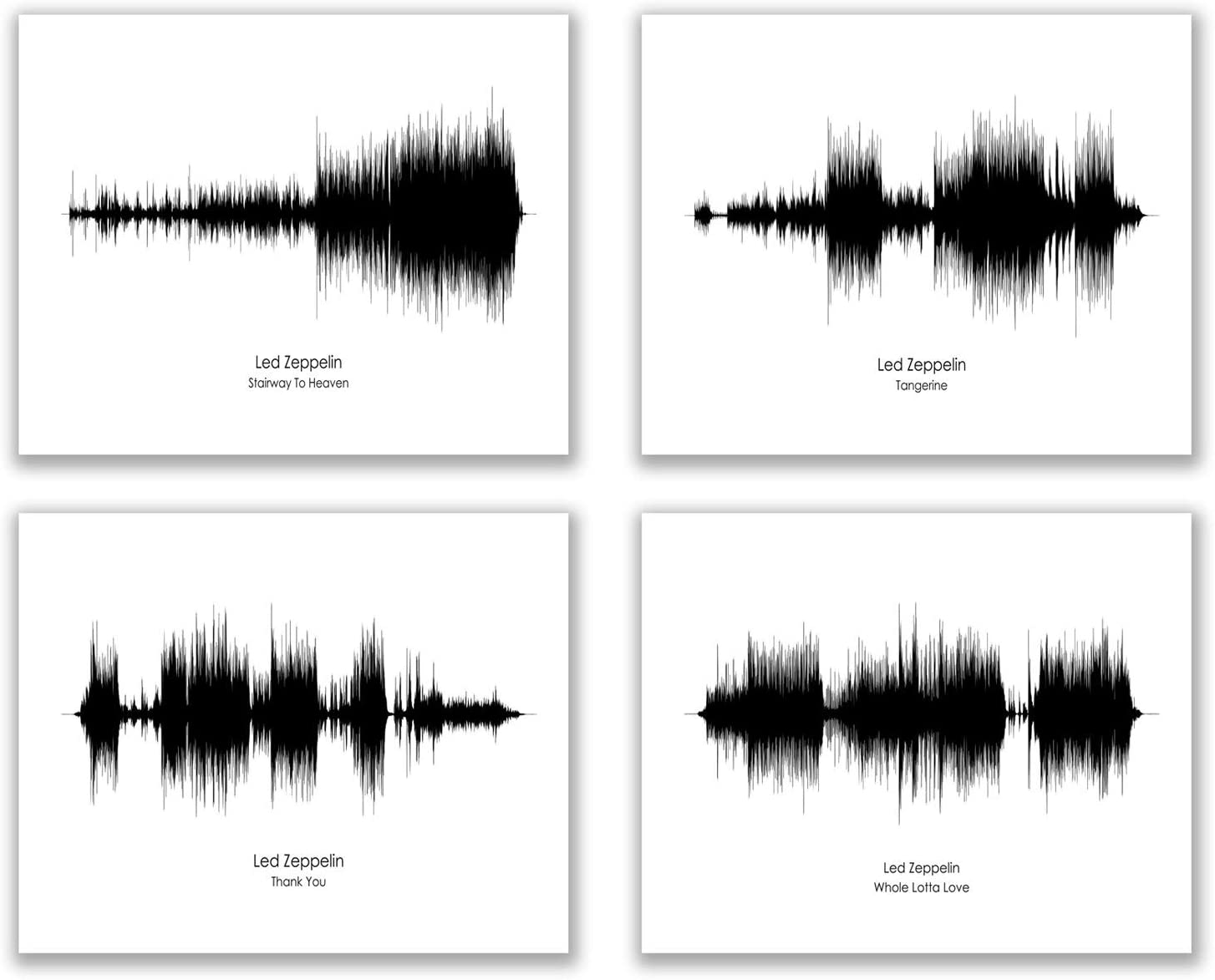 Led Zeppelin Sound Wave Wall Art Decor Prints - Set Of 4 (8x10) Inch Poster Photos