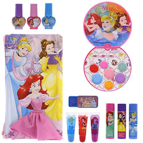 61YrliVJfKL - TownleyGirl Disney Princess Cosmetic Set with Nail Polish, Lip Gloss, Press-On Nails, Sandals, Toe Separators, and More